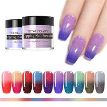 NICOLE DIARY Thermal Dipping Nail Powder Kit Sparkling Color Changing Dip Nail Glitter Pigment No UV Lamp Cure Quick DIY Decor Tool 10g (10 Boxes)