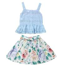2Pcs Kids Baby Girl Summer Clothes Outfits Cotton Vest Crop Tops+Floral Skirts Short Set 1-6 Years