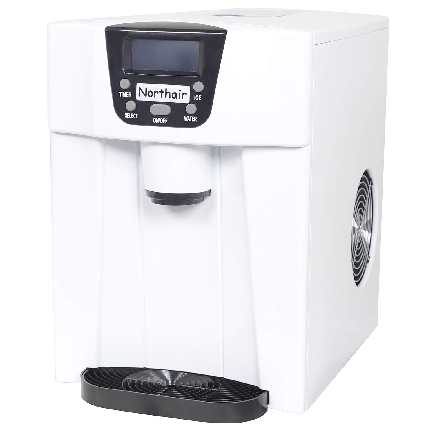 Northair 24 Hour Ice Maker and Water Dispenser with Automatic Shut-down System,S-L 2 Size Bullet Ice, with LCD Display,White