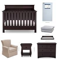 Crib Furniture - 7 Piece Nursery Set with Crib Mattress, Convertible Crib, Dresser, Nightstand, Glider Chair, Changing Top, Crib Sheets, Serta Fall River - Brown/Beige