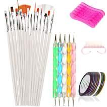 BLUETOP Nail Art Tools Set with 15 PCS Nail Polish Brushes 5PCS Dotting Pen for Manicure Pedicure Painting Rainbow Color DIY Pro