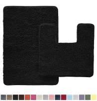 Gorilla Grip Original Shaggy Chenille 2 Piece Area Rug Set, Includes Square U-Shape Contoured Toilet Mat & 30x20 Bathroom Rugs, Machine Wash/Dry Mats, Plush Sets for Tub Shower & Bathroom, Black
