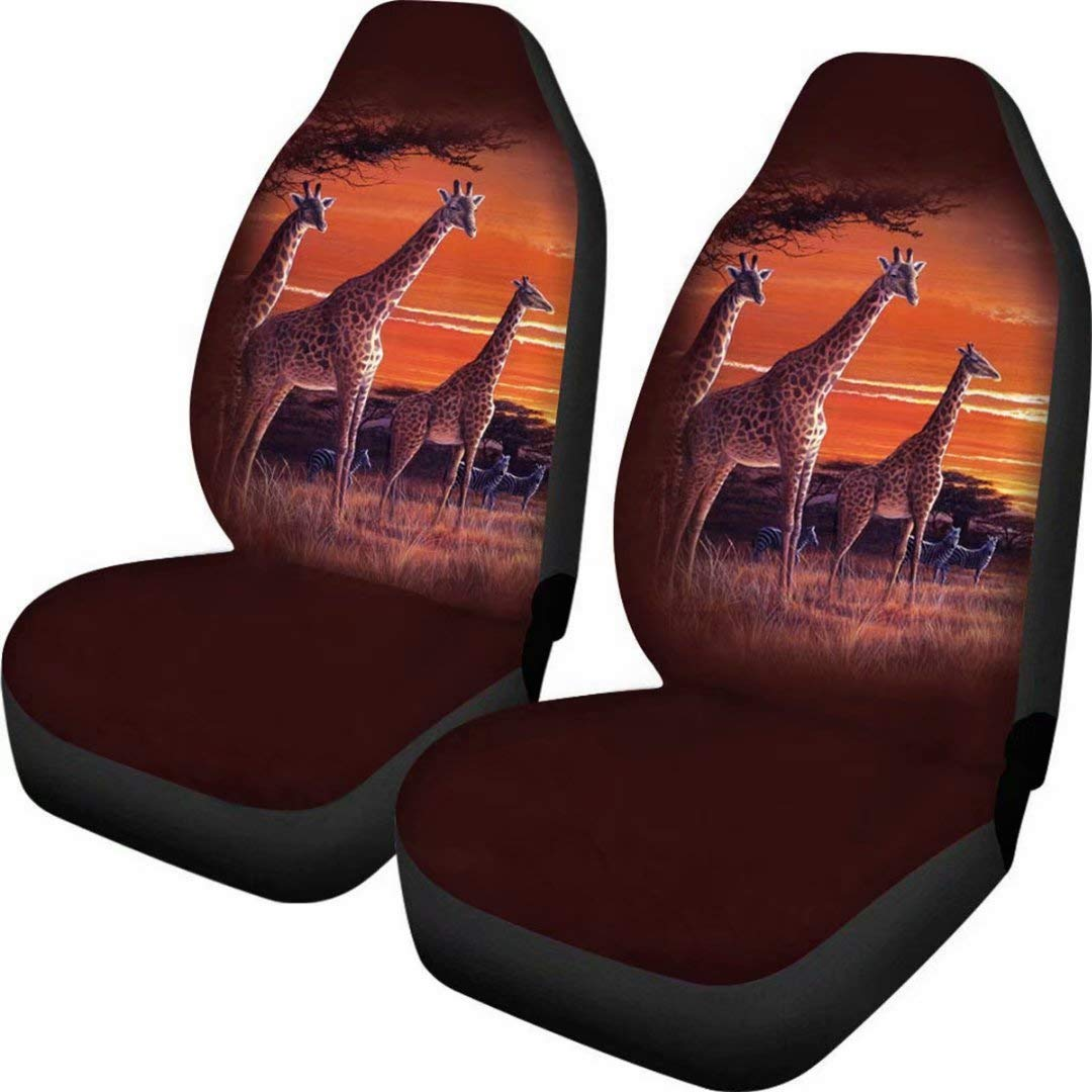 LedBack Set of 2 African Giraffe On African Plains at Sunset Design Fabric Front Seat Covers Sunflowers Design Car Interior Protector Universal Fit for Vehicle Sedan and Jeep