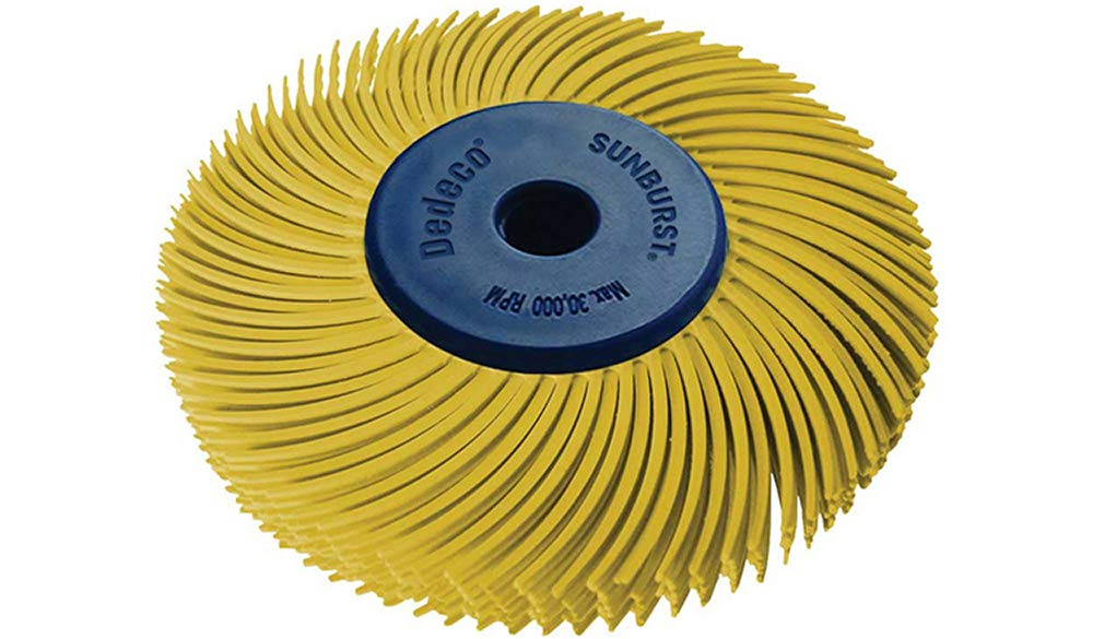 Dedeco Sunburst - 2 Inch TC 6-PLY Radial Bristle Discs - 1/4 Inch Arbor - Industrial Thermoplastic Rotary Cleaning and Polishing Tool, Coarse 80 Grit (1 Pack)