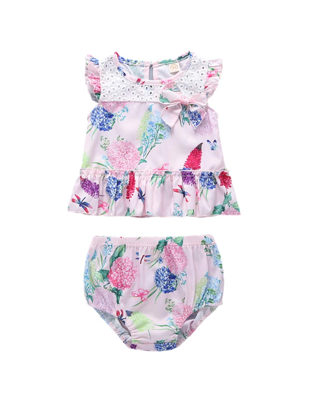Yoveme Toddler Little Kid Girls Summer Clothes Short Outfits Sleeveless Halter Ruffled Top Floral Shorts Set
