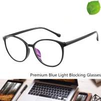Reading Glasses - Blue Light Blocking - Round Women Men (Black)