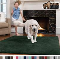 GORILLA GRIP Original Faux-Chinchilla Area Rug, 6x9 Feet, Super Soft and Cozy High Pile Washable Carpet, Modern Rugs for Floor, Luxury Shag Carpets for Home, Nursery, Bed and Living Room, Hunter Green