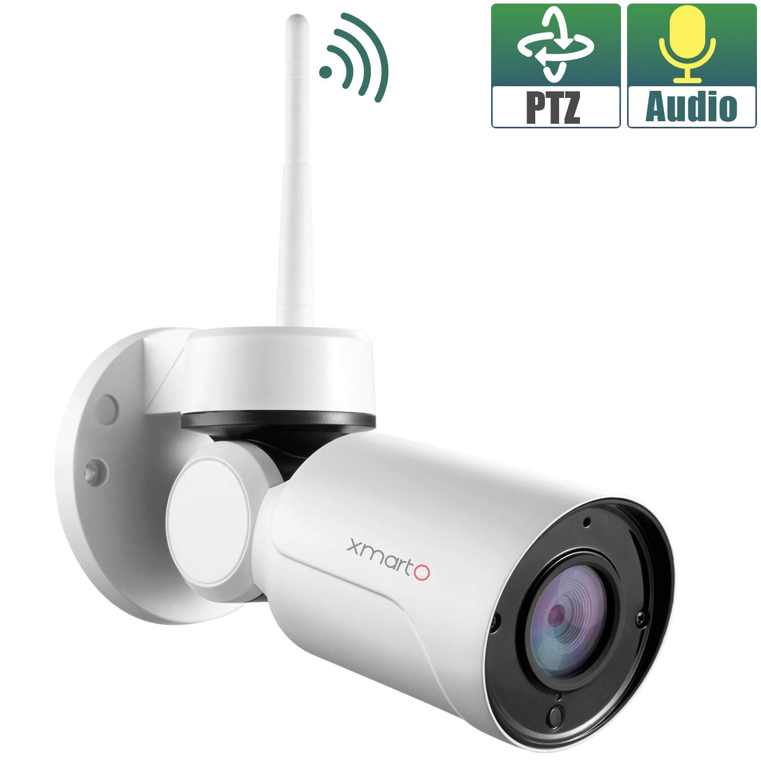 xmartO WP2024 [Pan Tilt & Built-in Audio] Add-on 1080p HD Wireless Pan Tilt Outdoor Security Camera 4mm Lens, 180° Pan and 55° Tilt Remote Control, 4X Digital Zoom and 80' IR Night Vision