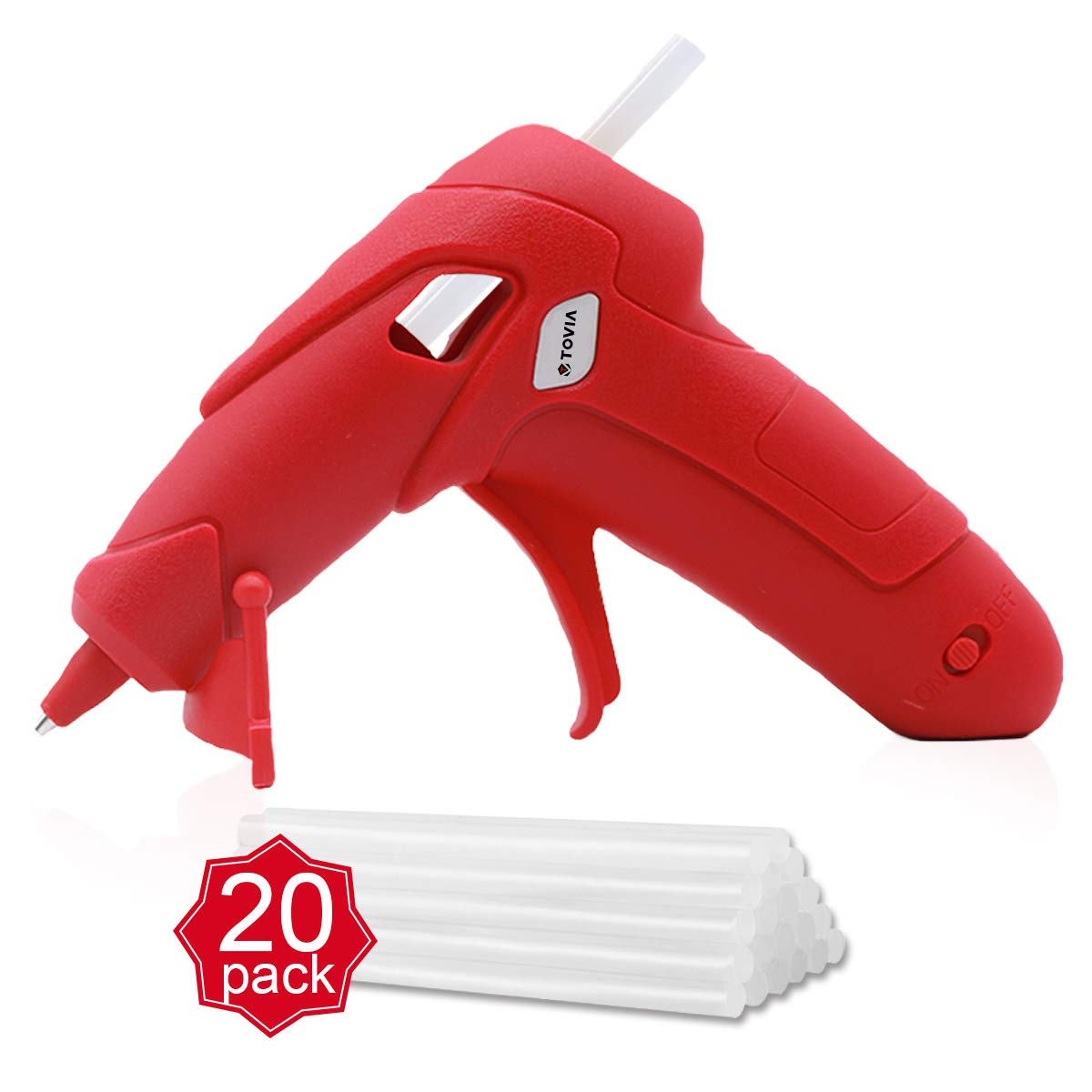 """Battery Powered Hot Glue Gun with 20 Pack-0.27""""x 3.93"""" Glue Sticks,Cordless Low Temp Melt Gun with Charger and Stand,Wireless Mini Heat Gun for Kids,Arts,Crafts,Decoration (Red)"""