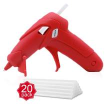 "Battery Powered Hot Glue Gun with 20 Pack-0.27""x 3.93"" Glue Sticks,Cordless Low Temp Melt Gun with Charger and Stand,Wireless Mini Heat Gun for Kids,Arts,Crafts,Decoration (Red)"