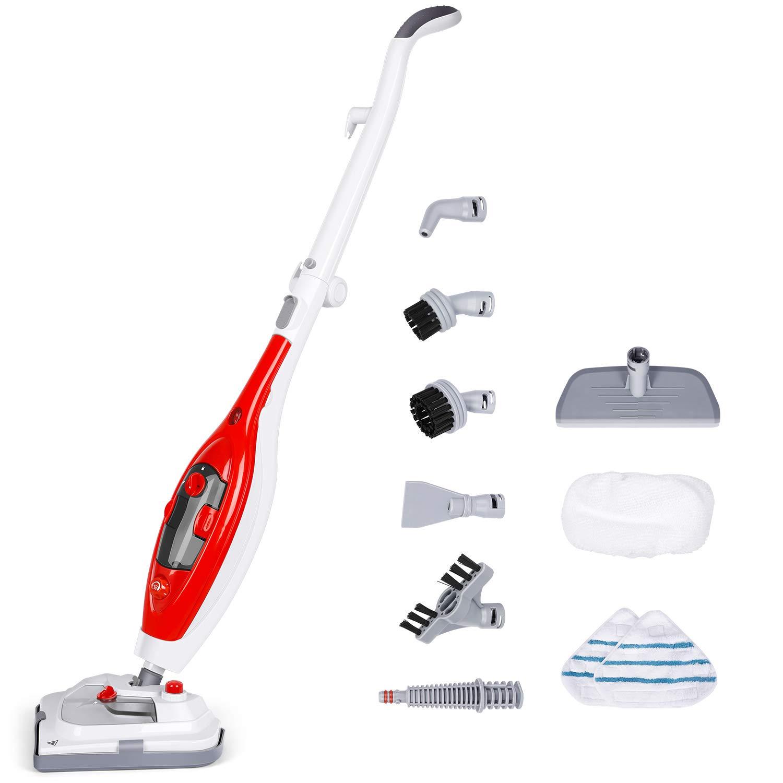 SIMBR Steam Mop, [Upgarde] Handheld Steam Cleaner, Detachable Mutil-Purpose 1200W 300ML Floor Steamer with 10 Accessories, Powerful Steamer for Hardwood Floor, Carpet, Tile