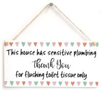 """Meijiafei This House has Sensitive Plumbing Thank You for Flushing Toilet Tissue only - Cute Love Heart Design for Bathroom Toilet Or W.C Using A Septic Tank System 10""""x5"""""""