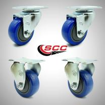 """Service Caster – 3"""" Blue Polyurethane Wheel – 2 Stainless Steel Swivel and 2 Stainless Steel Rigid Casters – Set of 4"""