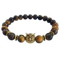 KESEELY Volcanic Bracelet Owl Bracelet Gold Bracelet Lava Stone Bead Bracelets