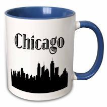 3dRose Chicago City Skyline Mug, 11 oz, Blue