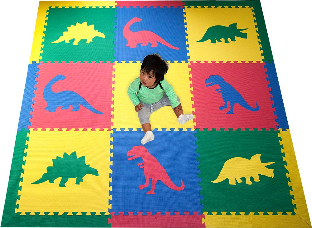 SoftTiles Kids Interlocking Foam Play Mats- Dinosaur Jurassic Theme- Premium Foam Mats for Children's Playrooms and Baby Nursery- Large 6.5 x 6.5 ft. - Primary Colors SCDPRIMBORD