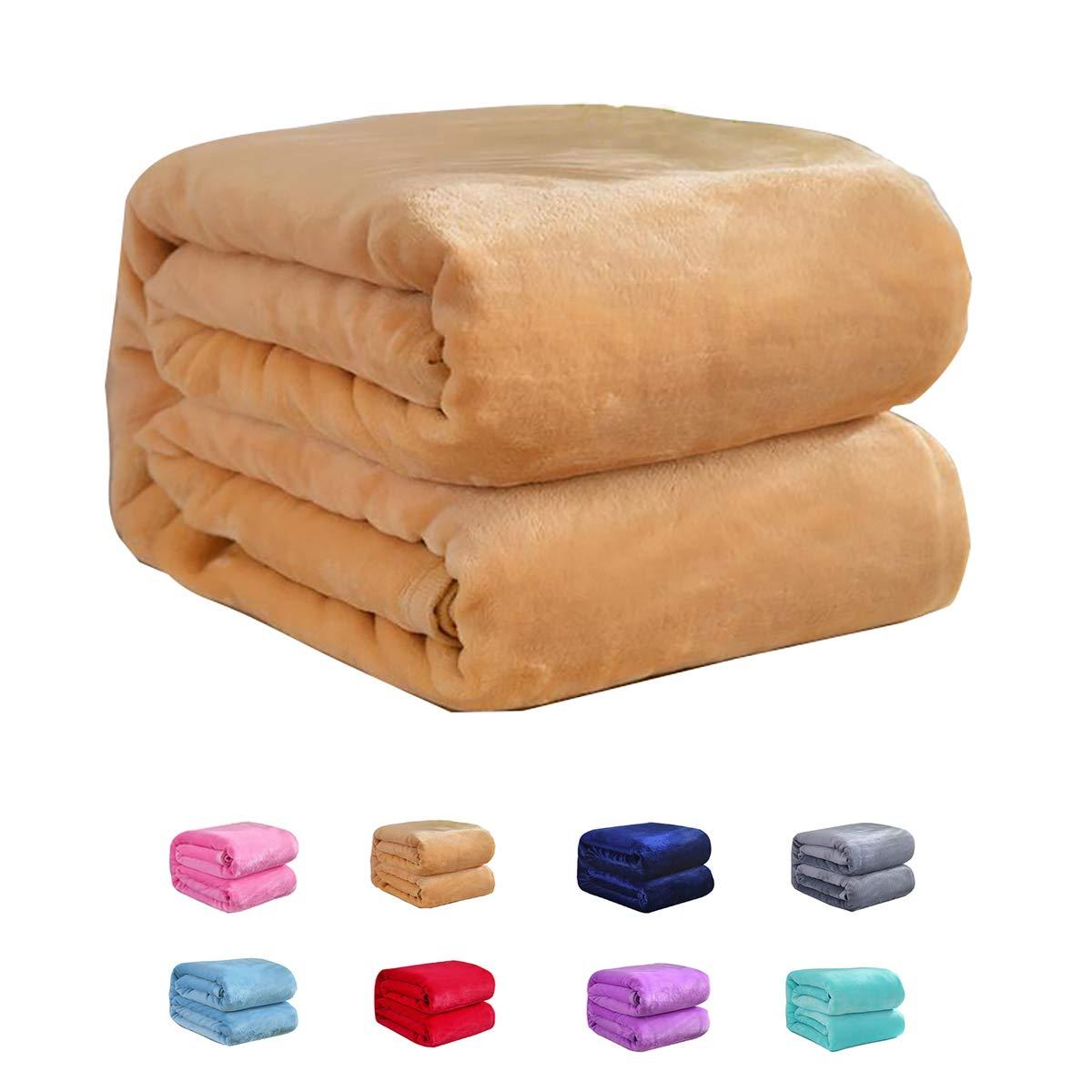 Flannel Fleece Luxury Blanket Twin Size Lightweight Cozy Plush Microfiber Solid Blanket Soft Warm Cozy Kids Teen Blanket (Tan, 60x80inch-Twin)