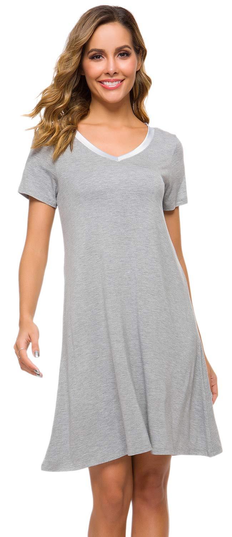 WiWi Women's Soft Bamboo Lightweight Nightgowns V Neck Nightwear Plus Size Short Sleeve Sleepwear S-4X