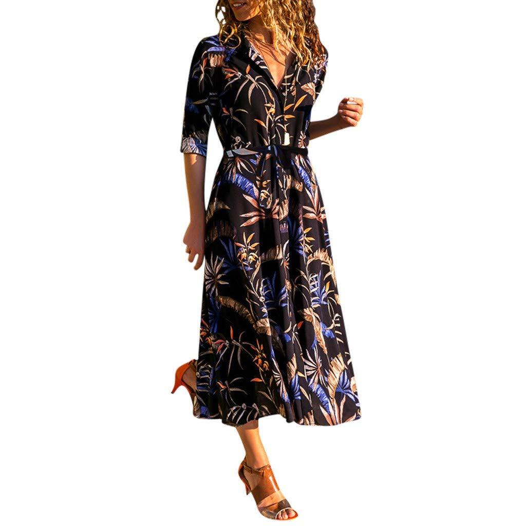 Hemlock Women Retro Floral Print Dress Autumn Long Sleeve Dress Lapel Neck Shirt Long Dress Button Waist Tie Dress Black