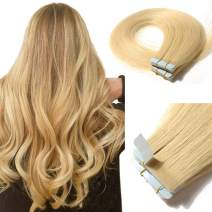 Tape In Real Human hair Extension Glue In Skin Weft Hair Extensions Rooted Tape in Remy Hair Seamless Invisible Double Sided Tape Human Hair Extensions For Women 20 inch 30g 20pcs #613 Bleach Blonde