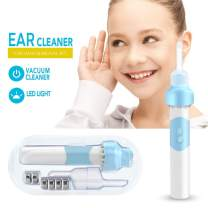 Ear Wax Removal Kit, Ear Cleaner, Electric Earwax Removal Tools, No Stimulation Electric Earwax Removal Tools Set with LED Light for Kids and Adults,Safe and Comfortable