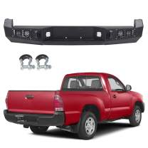 cciyu Rear Step Bumper With D-ring Built-In 18W LED Strip Light Replacement Fits For 2005-2015 Toyota Tacoma