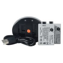 DSTE Replacement for 2 x LP-E5 Battery + Dual USB Charger Compatible Canon EOS 450D 500D 1000D Kiss F X2 X3 Rebel XS XSi T1i Camera