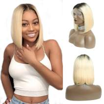 Short Ombre Lace Front Bob Wigs 613 Blonde Human Hair Wig Dark Roots Real Remy Hair Bob for Black Women 13x6 Lace Frontal Pre Plucked Bleached Knots with Baby Hair 180% Density Silky Straight 8 Inch
