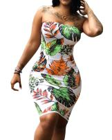 Imily Bela Womens Floral Strapless Off The Shoulder Bodycon Tube Top Midi Dress Plus Size