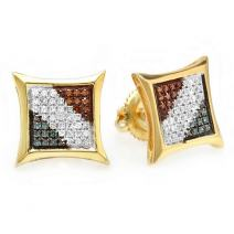 Dazzlingrock Collection 0.25 Carat (ctw) Blue, White & Red Round Diamond Micro Pave Setting Kite Shape Stud Earrings 1/4 CT