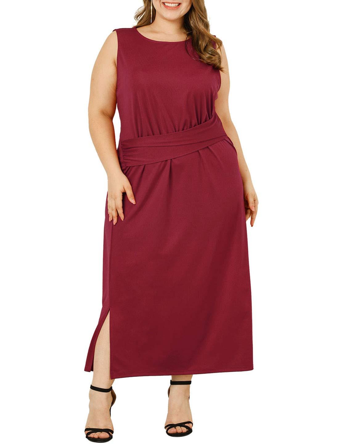 Agnes Orinda Women's Plus Size Elegant Dresses Draped Front Formal Dress