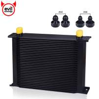 EVIL ENERGY 30 Row AN10-10AN Stacked Plate Oil Cooler 6AN 8AN Adapter Universal Engine Transmission Aluminium Alloy Black