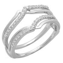 Dazzlingrock Collection 0.25 Carat (ctw) 14K Gold Diamond Ladies Anniversary Wedding Band Enhancer Guard Double Ring 1/4 CT