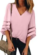 ROSKIKI Women Summer 3/4 Bell Sleeve V Neck Casual Chiffon Blouse Tops Patchwork Loose T Shirt