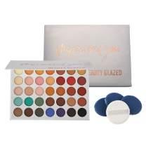 Shouhengda 35 Colors Matte & Glitter Eyeshadow Palette + 4PCS Cosmetic Powder Puff Highly Pigmented Smoky Eyeshadow Long-Lasting Waterproof Makeup Palette