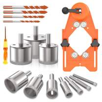 willstar Diamond Drill Bits, 16Pcs Hollow Drill Hole Saw Set, 10 Pcs Hole Saw Set with Adjustable Hole Saw Guidance Fixture & 4 Triangle Drill Bits & Screwdriver for Ceramic, Glass, Tile, Porcelain, Marble