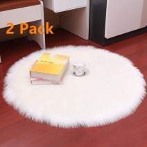 Yesland 2 Pack 16'' Round Shaggy Faux Fur Sheepskin Chair Cover Area Rugs, Super Soft Fluffy Plush White Seat Cushion/Floor Mat for Bedroom/Office/Restaurant Chair