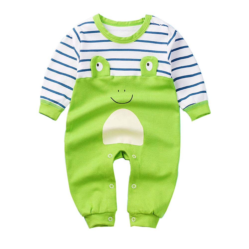 SeClovers Baby Cute Animal Jumpsuit, 3D Frog Pajamas-Toddler Long Sleeve Bodysuit Romper