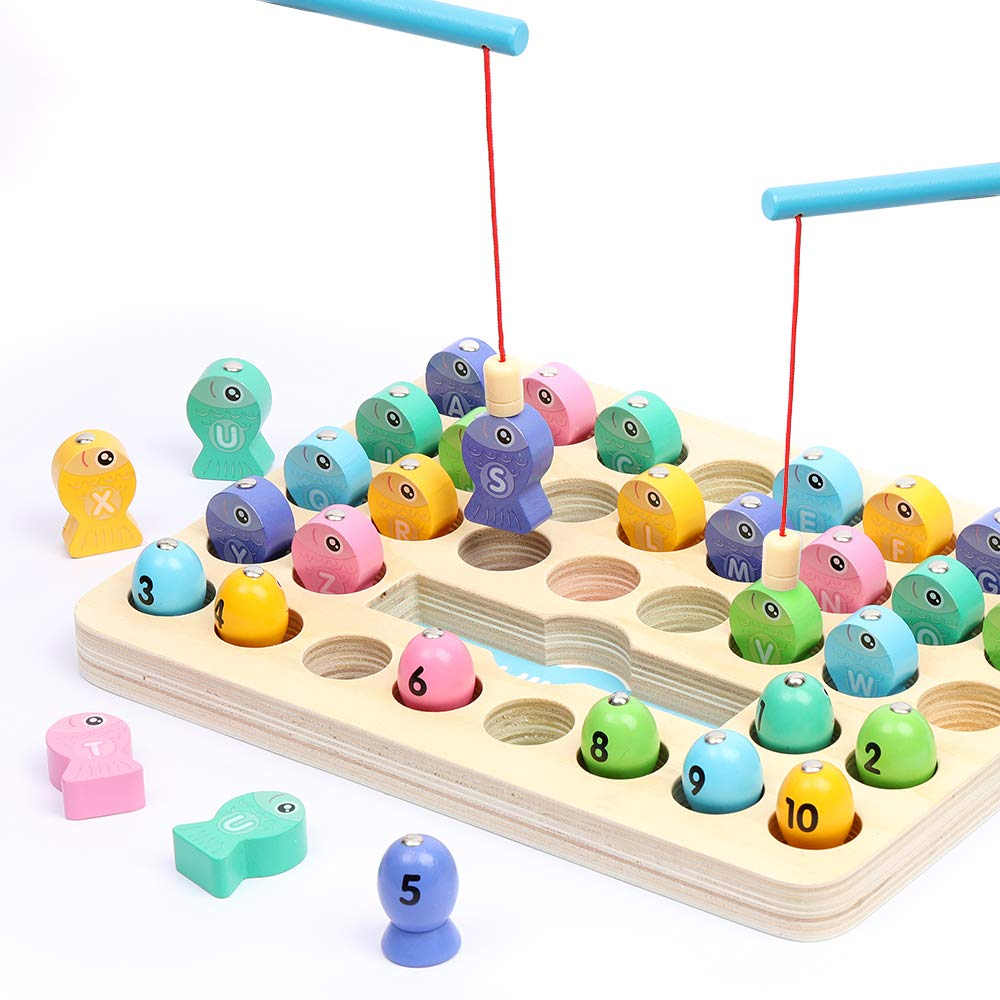 Fishing Game Wooden Educational Toy for Kids, Montessori Toys for Toddlers, Learning Alphabet and Numbers, Fish Game for Fine Motor Skills, Fun Gift for Boys and Girls for 3, 4, and 5 Years Old