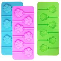 3 Pcs 6-Cavity Paw Lollipop Molds,Sonku Silicone Paw Mold Chocolate Hard Candy Jelly Fondant Mold with 18 Pcs Sucker Sticks-Pink,Blue and Green