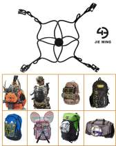 Jieming MiniNet – Backpack Extension Bungee - 4 PackTachs & 4 Aluminum Carabiners Included - Carry Items Such as Shoes Balls Sleeping Bags Tents Outdoor Camping Gear Water Bottles Etc