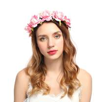 Campsis Wedding Flower Crown Pink Rose Bridal Floral Headband Bridal Hair Wreath Headpiece for Women and Girls