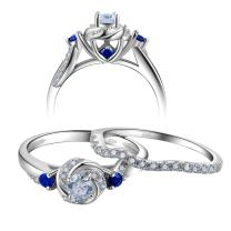 Newshe Engagement Wedding Ring Set for Women 925 Sterling Silver 0.8ct Round White Cz Blue Size 8 9