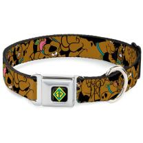 Buckle-Down Seatbelt Buckle Dog Collar - Scooby Doo Stacked Close-UP Black