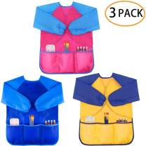 Zkptops 3 Pack Kids Art Smock Colorful Waterproof Children Art Aprons Artist Painting Aprons with Long Sleeve 3 Roomy Pockets for Age 3-8 Years