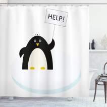 "Ambesonne Cartoon Shower Curtain, Arctic Animals Theme Penguin on an Ice Block Needs Help Illustration, Cloth Fabric Bathroom Decor Set with Hooks, 70"" Long, Sky Blue"