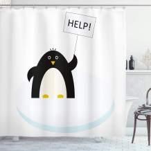 "Ambesonne Cartoon Shower Curtain, Arctic Animals Theme Penguin on an Ice Block Needs Help Illustration, Cloth Fabric Bathroom Decor Set with Hooks, 84"" Long Extra, Sky Blue"