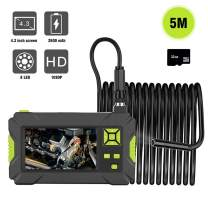 1080P HD 4.3'' LCD Screen Waterproof Inspection Industrial Endoscope, 1.57-197 inch Focal Distance Snake Camera with 8 Adjustable LED Light, 32GB TF Card, Rechargeable Battery (Green)
