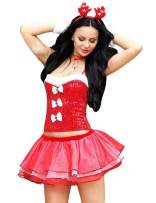 Esquki Women Christmas Costume Sexy Ms. Santa Party Outfit with Hat