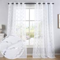 Kotile Silver Moroccan Tile Lattice Design White Sheer Curtains 63 Inch Long, Grommet Semi Voile Drapes for Baby Room, Bedroom, 2 Panels, 52 x 63 Inches